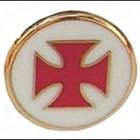 Spilla Corce templare smaltata, sfondo bianco interno rosso