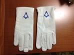guanti pelle con ricamo blu