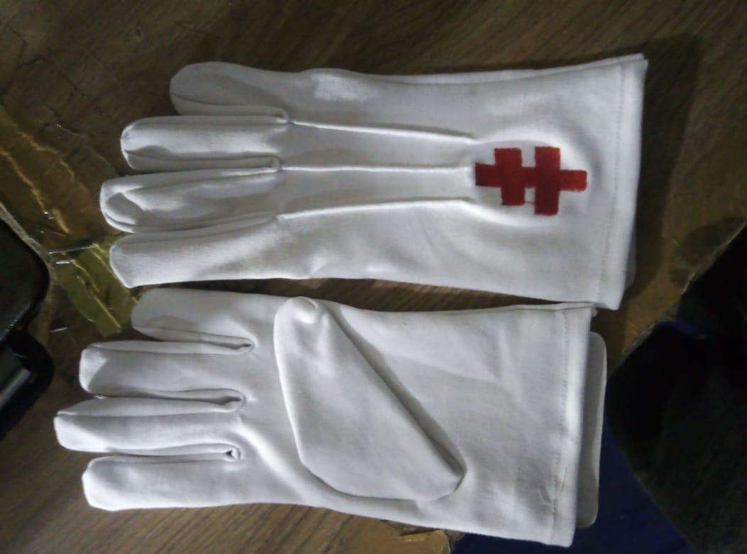 guanti in cotone con corce ricamata